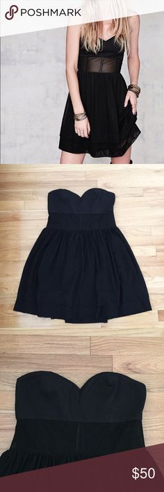 Free People strapless dress This dress it super cute and has a mesh panel across the abdomen. It is in excellent condition! Free People Dresses Strapless