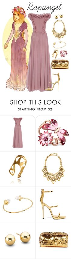 """""""Rapunzel Inspired Prom Outfit"""" by pie-epic ❤ liked on Polyvore featuring Elie Saab, Gucci, Oscar de la Renta, Giuseppe Zanotti and Deux Lux"""