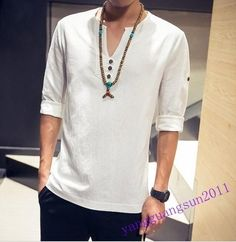 223bdbf9 Details about Casual V-neck Mens T-shirt Flax Tunic Long Sleeve Hot Sale  Boy Comfort Plus Size