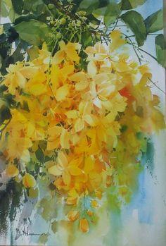 Adisorn Pornsirikarn. Акварель. Великолепные цветы