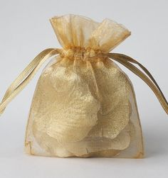 100 Gold Organza Bags, 3 x 4 Inch Sheer Favor Bags, For Wedding Favors or Jewelry