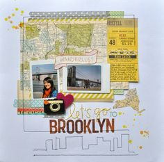 Scrapbook page ... I like the city skyline and that they added other papers from their trip, not just pictures