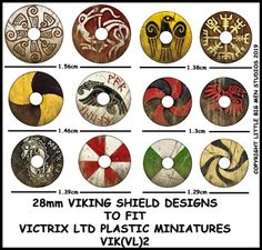 This is sheet 1 Viking Shield Designs VIK These are designed to go with the Victrix Viking shield set. Viking Shield Design, Vikings, Medieval Crafts, Viking Art, Viking Tattoos, Window Art, Anglo Saxon, Dark Ages, Circle Design