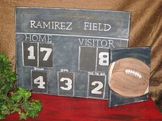 Really cute - wonder if Megan could paint this for us  Football scoreboard canvas by carencreates on Etsy, $55.00