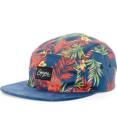 Brighten your outfits with a fun multicolor floral print on a low-profile 5 panel navy crown and a contrasting navy suede bill.