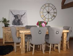 Rustic Extendable Reclaimed Wood Dining Table - with upholstered chairs - Handmade in the UK for Mosidh Living