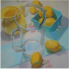 lemons, still life, glass sparkle, fresh Karen O'neal