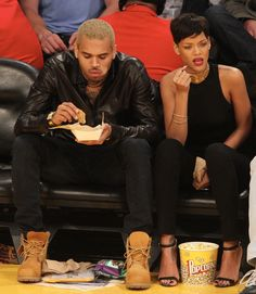 Rihanna street style candids 2013 x basketball game court side x chris brown