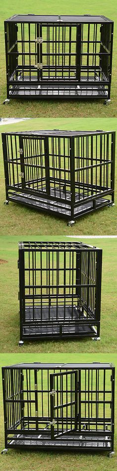 Animals Dog: 37 Xl Metal Cage Pet Dog Crate Kennel Cat Folding Tray Metal Pen Door Black New -> BUY IT NOW ONLY: $139.89 on eBay!