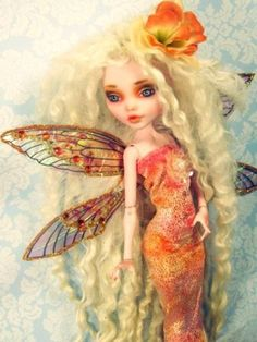 OOAK Fairy Draculaura Custom Monster High Doll Dressed Repaint Fairy Wings Angel