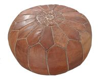 Moroccan Leather Pouf Natur