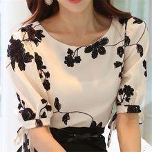 Moda Feminina Camisa Blusa Verão Tops Chiffon Camisa Casual O Pescoço Meia Manga Floral Impressão Blusas Femininas Roupas(China (Mainland))