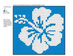 cross stitch hibiscus flower chart white on blue Mochila Crochet, Bag Crochet, Crochet Chart, Filet Crochet, Knitting Charts, Knitting Stitches, Knitting Patterns, Cross Stitching, Cross Stitch Embroidery