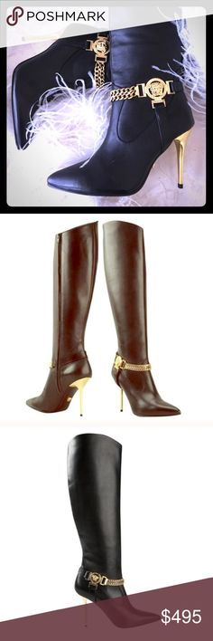 🇮🇹 VERSACE KNEE HIGH BOOTS 🇮🇹 💯‼️🇮🇹AUTHENTIC Versace Medusa Knee High Boots‼️🇮🇹 Gorgeous GOLD Stiletto Heels with Double Gold Toned Medusa Logo‼️STUNNING ‼️🌹 Also Featuring Elegant Pointed Toe, Gold Ankle Chain ,🌹and 100% Calves Leather. 🌹🇮🇹 Made in Italy. Size 42, No box. Worn only once-EUC‼️ VERSACE Shoes Heeled Boots