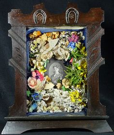 Memorial Shadow Box - With Flowers and Cabinet Card