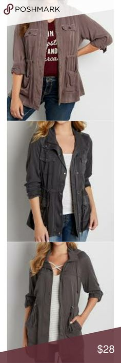 Maurices | drapey anorak pocket utility jacket Color is exact** to cover photo.. Second photo is my email confirmation photo. Unfortunately this product is no longer available, so limited product photos available  Color is sarsparilla -almost a mauve purple   Light weight  Soft  Size large ordered online and should've gotten a medium, Like new Worn and washed once Cinch waist  Lots of pockets  Maurices brand Maurices Jackets & Coats Utility Jackets