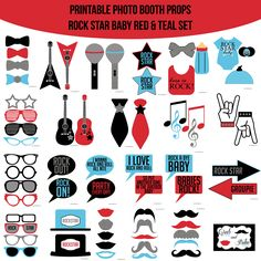 Instant Download Baby Rock Star Red Teal Printable Photo Booth Props — Amanda Keyt DIY Photo Booth Props & More!