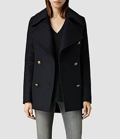 Coats for women, shop now. Allsaints Style, Casual Chic Outfits, Pea Coats Women, Winter Dress Outfits, Discount Clothing, Autumn Winter Fashion, Amazing Women, Clothes, Ink