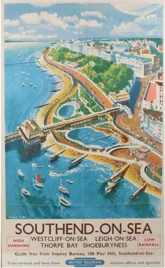 British Railway poster, Frederick Griffin, Southend on Sea, Westcliff on Sea, leigh on Sea, Thorpe Bay, Shoeburyness 17