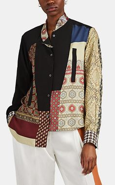 We Adore: The Patchwork Scarf-Print Asymmetric Blouse from LOEWE at Barneys New York New York Sites, Multi Coloured Scarves, Bohemian Look, Barneys New York, Couture, Shirt Blouses, Printed Shirts, Loewe, Quilted Coats
