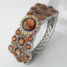 Brown Austrian Crystal Bracelet Bangle Cuff