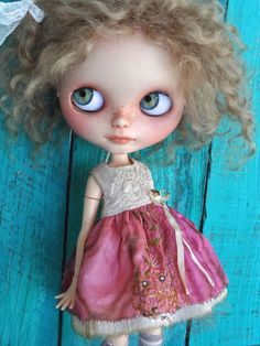Blythe doll outfit OOAK  *Raspberry and Cream* silk Grungy-chic outfit