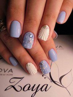 decoración uñas, tono azul, decoración veraniego, estrellas de mar, perlas, muy atractivo