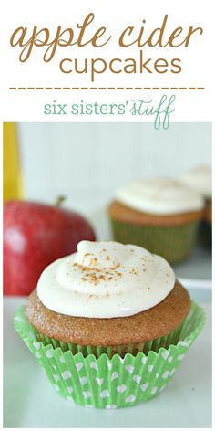 Apple Cider Cupcakes from SixSistersStuff.com   These cupcakes have all the flavor of apple cider and are perfect for this time of year. If you use fresh apple cider, they taste even more amazing! Top them off with some apple cider frosting and you are good to go!