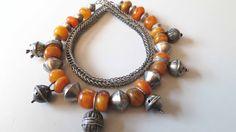 Vintage Moroccan tribal ethnic Berber Tuareg silver hairring pendants amber necklace. door tribalgallery op Etsy