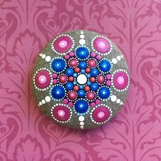 Jewel Drop Mandala Painted Stone rose sky by ElspethMcLean on Etsy