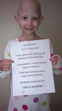 An absolute Must Share! Came across this sweetheart on tumblr and as a cancer survivor myself, this definitely moved me a great deal. Then, I noticed her last day of chemo was also my Birthday. Too Awesome. :) <3