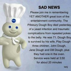 Dump A Day Funny Pillsbury Dough Boy Pictures - 16 Pics Lol, Haha Funny, Funny Stuff, Funny Shit, Funny Things, Random Stuff, Awesome Things, Random Things, Funny Humor