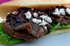 Ostrich Burgers with Biltong, Feta and Red Wine Sauce - jesska Biltong, Wine Sauce, South African Recipes, Ethnic Recipes, Feta, Red Wine, Grubs, Cheesesteak, Burgers