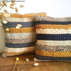 Scandi style woven pillows by wefilgood - sewing, knitting and more - # fabric . : Scandi-style woven cushions by wefilgood – sewing, knitting and more – the Loom Weaving, Tapestry Weaving, Hand Weaving, Fabric Weaving, Weaving Projects, Knitting Projects, Scandi Style, Decorative Pillow Covers, Handmade Rugs