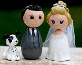 Personalized custom wedding cake topper kokeshi figrurines.