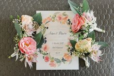 Pastel boutonnière and floral wedding stationery // A Midsummer Night's Dream: Sean and Dawn's Wedding