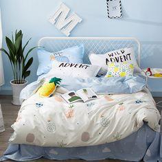 100% Cotton Duvet Cover Set With Fruit Pattern Queen Size Bedding Set For Children Cute Style Duvet Cover Bed Sheets Pillow Case