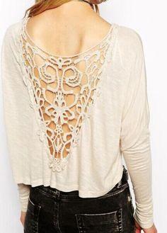 Enchanting Long Sleeve Hollow Design Beige T Shirt: