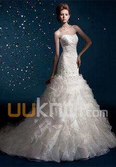 A-line Strapless Chapel Train Tulle Satin Wedding Dress - UUknot.com