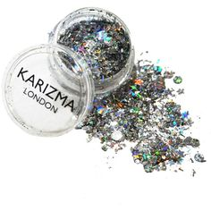 Karizma Silver Holographic Festival Chunky Glitter ($6.23) ❤ liked on Polyvore featuring beauty products, makeup, beauty, fillers, backgrounds, misc and metallic