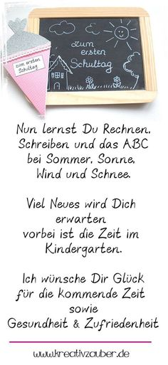 Sprüche zur Einschulung - erster Schultag - Kreativzauber® short sayings at the beginning of school. Perfect for greeting cards for school enrollment. You can of course adapt and change the enrollment Beginning Of School, Back To School, School Enrollment, Das Abc, First Day Of School Activities, School Worksheets, Scholarships For College, Short Quotes, Big Kids