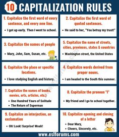 Capitalization Rules: 10 Important Rules for Capitalization of Letters in Written English - ESL Forums English Grammar Rules, English Spelling, English Writing Skills, Learn English Grammar, Learn English Words, Teaching English, English Language, Capitalization Rules, Grammar And Punctuation