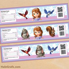 FREE Printable Sofia the First Water Bottle Labels