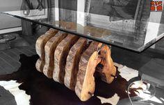 Nativo Redwood. Mesa comedor con base de tronco especial de laurel seccionado con soportes originales de fierro forjado con reguladores de nivel, con cubierta de cristal de 1.20x2.20x 19 mm de espesor. www.facebook.com/nativoredwoodsa
