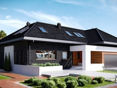 Modern house for lovers of elegance! Bungalow House Plans, Bungalow House Design, Modern House Plans, Modern House Design, Small Cottages, Storey Homes, Ranch Style Homes, House Paint Exterior, Concept Home