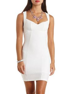 Dot-Textured Sweetheart Bodycon Dress: Charlotte Russe
