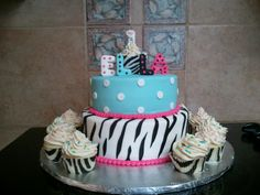 1st Birthday cake made to match the b-day girl's outfit