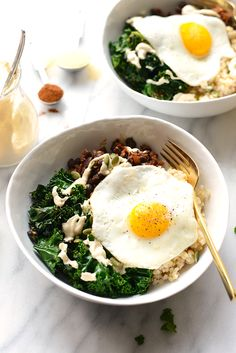 Make your breakfast a savory one and prep these delicious black bean breakfast bowls for the week! They're made with black beans, saut�ed kale, brown rice, an egg, and all the fixins!
