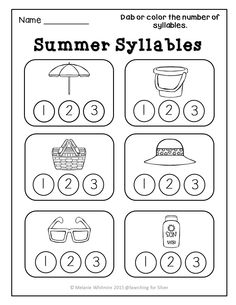 Winter Syllables Sort with Illustrations (Color & B+W