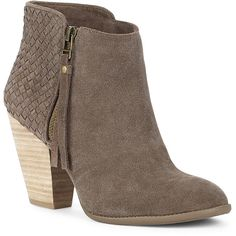 Sole Society Zada Woven Ankle Bootie ($70) ❤ liked on Polyvore featuring shoes, boots, ankle booties, ankle boots, heels, coffee, high heel booties, stacked heel bootie, short boots and suede booties